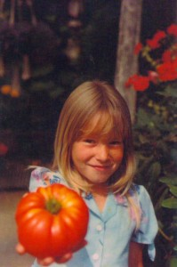 me with a homegrown tomato
